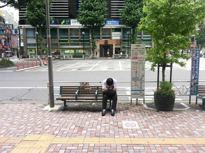 japanese people sleeping everywhere
